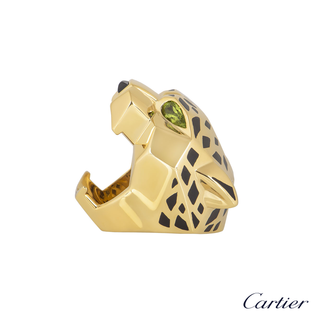 Cartier Yellow Gold Peridot and Onyx Panthere Ring Size 54 N4193154
